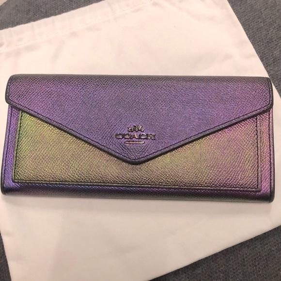 Coach Metallic Hologram Purple Flip Snap Wallet